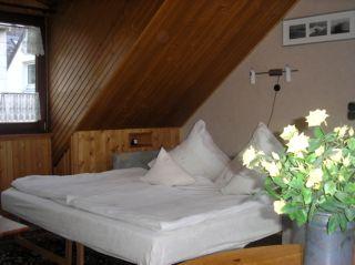 Die zum Bett umgebaute Couch in Apartment Elsass