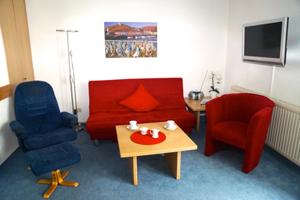Wohnbereich in Hilligen Lunn 1 mit umlegbarer Schlafcouch.